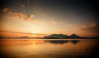 Scenic view at mirror of big lake in Sri Lanka