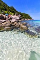 Asia en la bahía de la isla de kho tao sombrilla de playa blanca