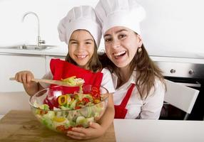 woman and little daughter preparing salad in cook hat
