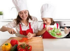 woman and little daughter preparing salad in home kitchen