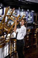 Bartender in closed bar