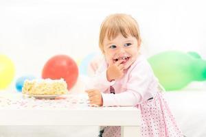 Little girl celebrating second birthday
