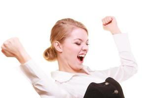 Success in work. Businesswoman celebrating promotion