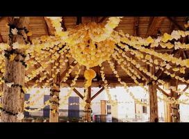 Celebration paper flower garlands in France