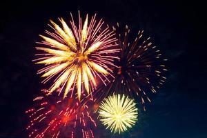 Fuegos artificiales de colores brillantes y saludos de varios colores.
