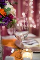 Wedding Glass Detail at Reception