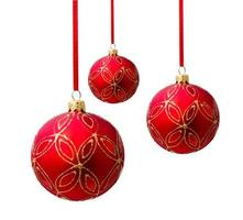 Hanging red christmas ball isolated