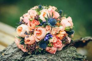 bridal bouquet with  rose flowers photo