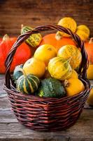 ripe organic colored pumpkins in the basket photo