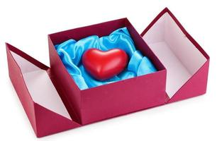 Heart in box isolated on white photo