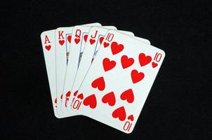 Royal flush poker hand. photo