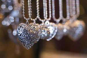 valentine silver heart love necklage photo