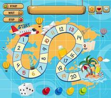 una plantilla de juego de mesa de viaje vector