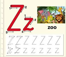 Letter Z tracing alphabet worksheet with zoo