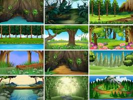 Landscape forest nature scenes set vector