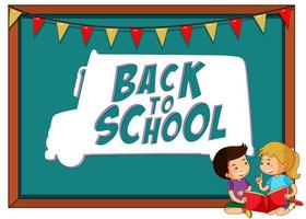 Back to school template frame with children