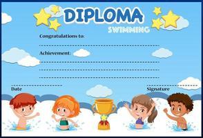 plantilla de certificado de diploma de natación para niños vector