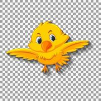 Cute yellow bird cartoon illustration