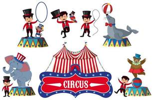 Set of Circus Elements vector