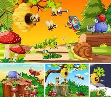 conjunto de diferentes insetos vivendo no jardim
