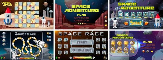 Set of space games templates vector