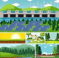 seis escenas diferentes en la naturaleza. vector
