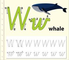 letter w tracing alfabet werkblad met walvis