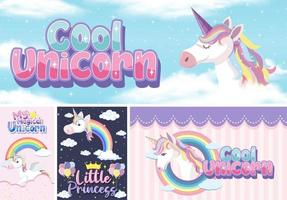 Cute unicorn banner on pastel background vector