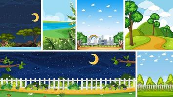 conjunto de diferentes escenas de lugares de la naturaleza.