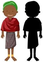 African tribe character with silhouette