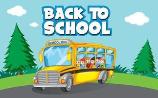 plantilla de regreso a la escuela con niños y autobús escolar vector