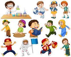 Set of kids doing different activities