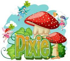 Pixie logo with little fairies