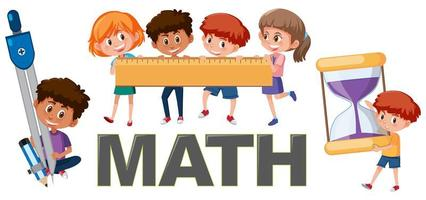 Children with math tools elements set  vector
