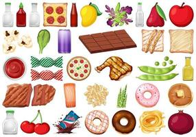 Set of isolated food and beverage objects  vector