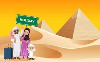 familia árabe de vacaciones en un entorno de pirámides vector