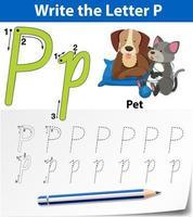 Letra p trazando la hoja de trabajo del alfabeto con mascota vector