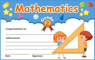 plantilla de certificado de diploma de matemáticas con niños vector