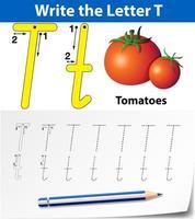 letter t tracering alfabet werkblad met tomaten