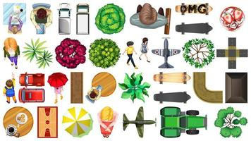 Set of aerial view elements isolated vector