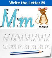 plantilla de alfabeto de rastreo para la letra m con el mouse