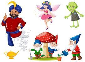 conjunto de personaje de dibujos animados populares de fantasía vector