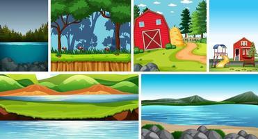 Seis escenas de la naturaleza con diferentes ubicaciones establecidas.