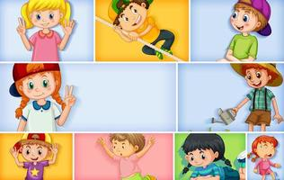 Set of different kid characters on color background