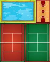 vista aérea de la piscina, baloncesto y cancha de tenis