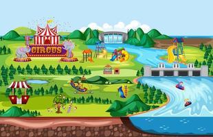 escena del paisaje del parque de atracciones temático vector