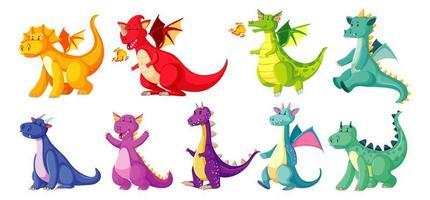 diferentes colores de dragones en estilo de dibujos animados vector