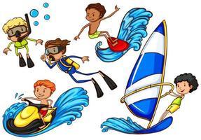 niños disfrutando de las actividades de deportes acuáticos. vector