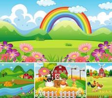 Set of different farm scenes