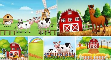 Set of different farm scenes with animals  vector